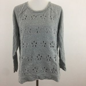 Gray Sweater Floral Cut Out Top J. Jill